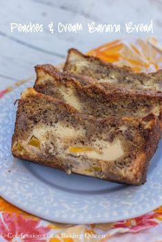 Moist Banana Bread is filled with juicy peaches and a delicious cream cheese swirl, you will love this Peaches & Cream Banana Bread Recipe! Banana Bread Cream Cheese, Peach Bread, Moist Banana Bread, Cream Cheese Recipes, Sweet Breakfast, Breakfast Dessert, Dessert Bread, Breakfast Recipes, Delicious Desserts