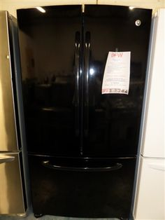 Brand new GE Black French Door Fridge. Only $1200! Black French Doors, French Door Refrigerator, Kitchen Appliances, Diy Kitchen Appliances, Home Appliances, Domestic Appliances
