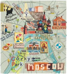 Russia Travel Inspiration - Maps are majorly trendy right now! Map something from your life: your house, your room, your neighborhood, a class. It's your call. Gravure Illustration, Illustration Mode, Travel Illustration, Map Illustrations, Paris Map, Paris Travel, Travel Maps, Travel Posters, Moscow Map
