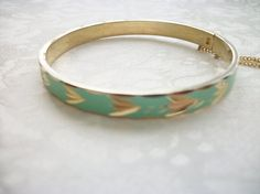 SOLD - Vintage Turquoise Enamel Etched Goldtone by PhylmasFabulousFinds - SOLD