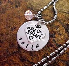 Personalized Jewelry Big Sister Necklace Big by CharmAccents, $20.00