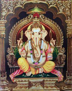 Sri Ganesh, Ganesh Lord, Mysore Painting, Tanjore Painting, Hindu Deities, Hinduism, Lord Balaji, Pooja Room Design, Baby Krishna