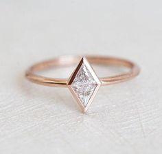 Geometric Diamond Shape Ring Gemstone Engagement Rings, Engagement Ring Settings, Vintage Engagement Rings, Trillion Engagement Ring, Custom Wedding Rings, Wedding Rings Rose Gold, Bridal Rings, Wedding Bands, Silver Rings