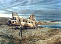 Argentinian forces disembarking from a helicopter, Falklands War