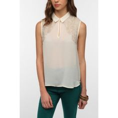 White silk Blouse Kimchi Blue Lace Overlay Please note it was purchased online like this! Damages pictured. Super cute and sheer, runs a bit on the smaller side Urban Outfitters Tops Blouses