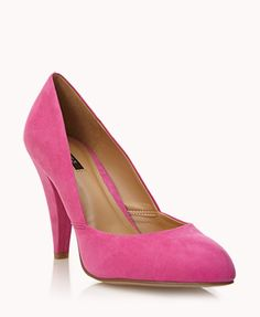 Cone Heel Pumps | FOREVER21 How would you rock these pumps? #Suede #Summer #Pink