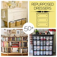 50 Plus Repurposed Dresser Projects to Make repurposing dressers, diy repurposed dresser, diy homedecor, old dressers repurposed, diy dresser bench, repurpos dresser, repurpose dressers, repurposed dressers, dresser project