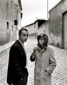 Antonioni / Vitti. Talking. On the set. Il Deserto Rosso. '64.