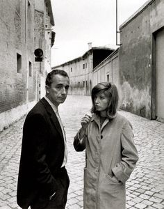 Antonioni / Vitti. Talking. On the set. Il Deserto Rosso. '64.