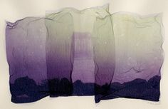 honeymoon shack - Polaroid Emulsion Lift - three piece composite