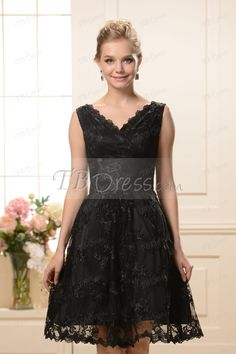 Fashionable A-Line V-neck Knee-length Nadya's Bridesmaid Dress. Not in black I would use ivory or champagne.