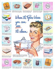 Pyrex - the old stuff is marvelous.  The new, made in China crap will blow up in the oven or on your dinning room table.