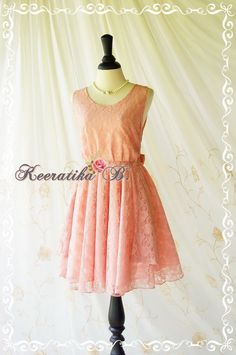 A Party V Shape Roses Lace Pink Nude Dress by LovelyMelodyClothing