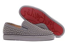 Christian Louboutin Grey Suede Grey Spike Low Sneakers