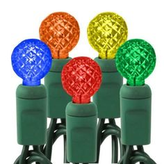 (50) Bulbs - LED - Multi-Color G12 Christmas Lights - Length 17 ft. - Bulb Spacing 4 in. - 120V - Green Wire by HLS. $13.52. Wattage: 3.5 Watt - Bulbs Per String: 50 - Bulb Color: Multi-Color - Lighted Length: 16.3 ft. - Wire Gauge: 22 AWG - UL Listed: Indoor/Outdoor -