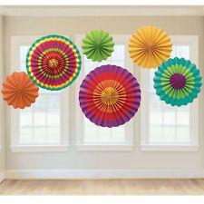 6pc Fiesta Green/Orange/Red Paper Fan Southwestern Party Decoration