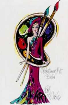"Barbie concept illustration ""Celebrate Art"" by Bob Mackie"