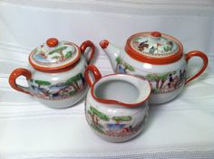 Vintage Teapot Creamer and Sugar Set by TreasuresOfPandora on Etsy:):)