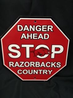 Arkansas Razorback STOP Sign