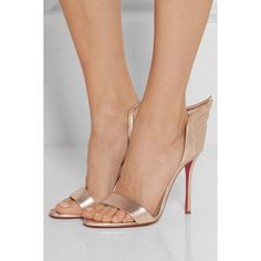 Christian Louboutin Samotresse 100 metallic leather sandals ($835) ❤ liked on Polyvore featuring shoes, sandals, high heel shoes, high heeled footwear, christian louboutin shoes, metallic leather shoes and metallic high heel sandals