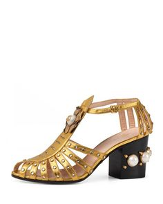 Kendell+Pearly+Metallic+Mid-Heel+Sandal,+Gold+by+Gucci+at+Bergdorf+Goodman.