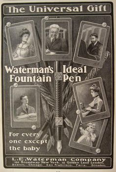 1901 Waterman's Fountain Pen Ad ~ For Everyone Except the Baby