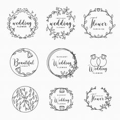 Feminine Floral Wedding Collection Vector and PNG Frame Floral, Flower Frame, Floral Banners, Floral Letters, Wedding Logos, Floral Wedding Invitations, Estilo Floral, Wedding Borders, Nature Vector