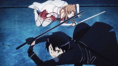Kirito and Asuna Kirito Kirigaya, Kirito Asuna, Anime Cat, Kawaii Anime, Desenhos Love, Naruto Gif, Sword Art Online Kirito, Shadow Art, Fire Emblem