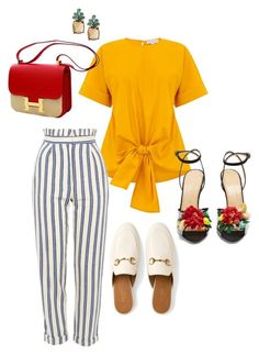 """Conservative & Tropical!!!"" by la-harrell-styling-co on Polyvore featuring Warehouse, Topshop, Gucci, Charlotte Olympia, Hermès and Banana Republic"