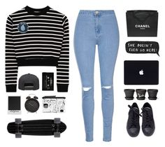 """""""cash me outside"""" by itstepna ❤ liked on Polyvore featuring Alex and Chloe, Chanel, Polaroid, Monki, Glamorous, Converse, Stay Home Club, StreetStyle, black and MyStyle"""