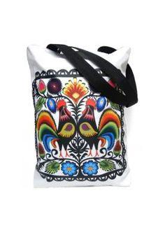 Biała torba z nadrukiem kolorowej ludowej wycinanki