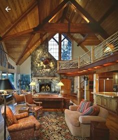 Log home living room with vaulted ceiling and fireplace. Cabin Homes, Log Homes, Tiny Homes, Dream Homes, Shed Cabin, Log Home Living, Log Home Decorating, My Ideal Home, Great Rooms