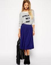 ASOS Woven Midi Skirt In Crepe