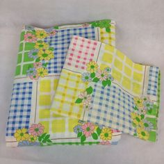 VTG Twin Flat Pillowcase Bed Sheet Cannon Monticello Flower Power Gingham Girly