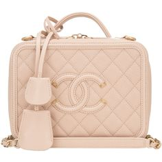 Pre-Owned Chanel Light Beige Caviar Small Filigree Vanity Case (307.285 RUB) ❤ liked on Polyvore featuring beauty products, beauty accessories, bags & cases, bags, beige and chanel