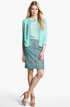 kate spade new york cardigan, silk top & pencil skirt  available at #Nordstrom