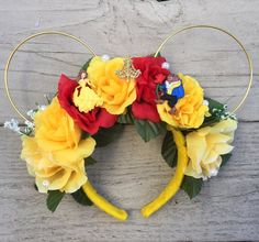 Disney Inspired Floral Beauty & the Beast Mouse Ears Disney Minnie Mouse Ears, Diy Disney Ears, Disney Bows, Disney Day, Mickey Ears, Disney Clothes, Disney Outfits, Winnie The Pooh Ears, Disney Wreath