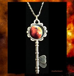 NEW - SILVER KEY WITH GLASS OPTIC CABOCHON SPACE GALAXY PENDANT NECKLACE #Handmade #Pendant