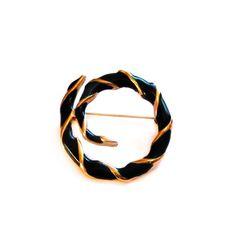Gold, Green Enamel Spiral Brooch / Pin