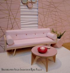 Mid century modern dollhouse furniture scale round table in light rose blush with natural wood legs Mid Century Danish Modern Modern Dollhouse Furniture, Diy Barbie Furniture, Miniature Furniture, Diy Dollhouse, Dollhouse Miniatures, Victorian Dollhouse, Natural Wood Table, Barbie House, Mid Century Furniture
