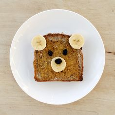 Teddy bear toast.  Cute....I'd have to replace the raisins with choc chips but still would make them smile.