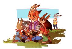 Zootopia - Nick, Judy, and bunnies