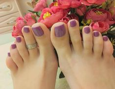 Image may contain: one or more people Pretty Toe Nails, Cute Toe Nails, Pretty Toes, Pies Sexy, Feet Nail Design, Purple Toes, Nice Toes, Toe Nail Color, Painted Toes
