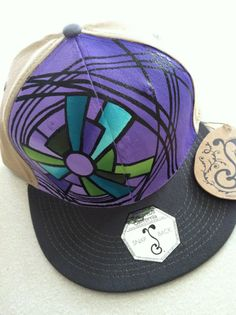 Hand Painted Hat Flat Brim Snap Back by StarSeventeen on Etsy c2330e93b2c