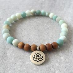 Lotus Charm Bracelet- Amazonite & Sandalwood - Mala Meditation Yoga Jewelry