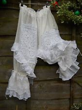 BN OS SNOW PEARL W/ ANTIQUE LACE BLOOMERS PANTALOONS LAGENLOOK W/ MAGNOLIA BOW