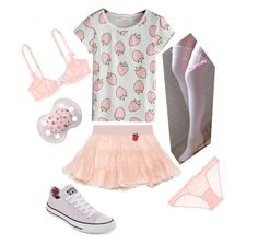 """Strawberry Girl"" by satans-little-princess ❤ liked on Polyvore featuring Converse, Gucci, L'Agent By Agent Provocateur, littlegirl, ddlg and cgl"