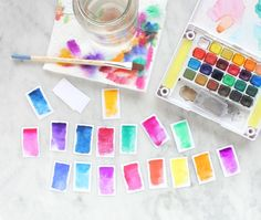 Lines Across: DIY Watercolor Magnets