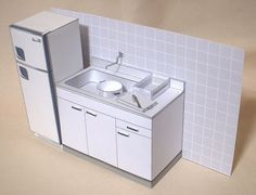 PAPER HOUSE: Kitchen set of kitchen cabinet with sink, refrigerator, stove and cooking utensils via Seesaa