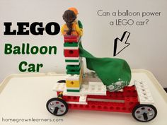 LEGO Education® Simple Machines and a LEGO Balloon Car. Physics science activity to go with Apologia Exploring Creation With Chemistry and Physics. #homeschool science.